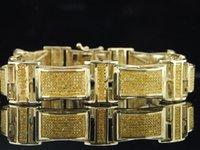 10k gold bracelet - Mens K Yellow Gold ct Genuine Yellow Diamond Bracelet Pave Tennis Link Dome