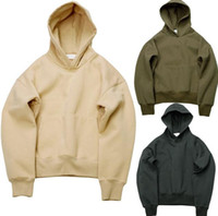 Wholesale Very good quality nice hip hop hoodies with fleece WARM winter mens kanye west hoodie sweatshirt swag solid Olive YEEZ pullover