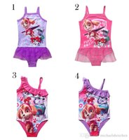 Wholesale Patrol dog Design girl lace Swimsuits DHL new Girls cartoon swimwear Patrol dogs sleeveless Swimming baby clothes B