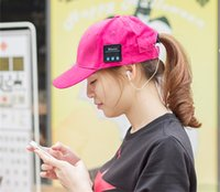 active microphone - 2016 Baseball Caps Bluetooth Hats with Music Headphone Earphones and microphones Sport Caps for unisex via DHL