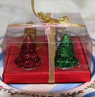 Wholesale 12pcs Christmas tree Candle Mixed Wedding Baby Shower Birthday Souvenirs Gifts Favor Packaged with PVC Box