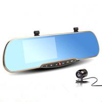El más nuevo 4.3inch espejo retrovisor coche DVR Full HD 1080p doble lente de coche cámara grabadora de vídeo de aparcamiento vehículo Dash Cam caja negra