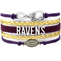 baltimore best - Infinity Love Baltimore State Ravens Football Charm Wax Cord Wrap Braided Leather Bracelet bangles For Football Fans Best Gift Drop Shipping