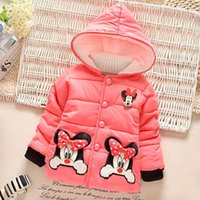 Wholesale 2016 Warm Down CoatWinter Cute Cartoon Mickey Kids Children Baby Girls Snowsuit Long Sleeve Hooded Down Coat Cotton Outerwear Clothes MC0167