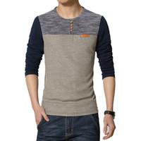 Wholesale Korean Slim Fit Shirts Brand - Hot 2016 New Spring Fashion Brand O-Neck Slim Fit Long Sleeve T Shirt Men Trend Casual Men T-Shirt Korean T Shirts 5XL