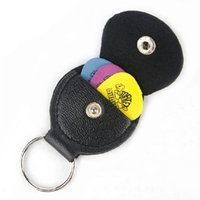 Stocked bass leather bag - New Pc Black Faux Leather Key Chain Style Guitar Bass Picks Holder Plectrums Case Bag