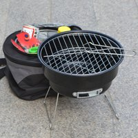 Wholesale 1pcs Stainless steel outdoor household couple barbecue brazier charcoal portable mini bbq grill with shoulder cooler bags cm