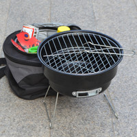 Wholesale 2016 Hot Stainless steel outdoor household couple barbecue brazier charcoal portable mini bbq grill with shoulder cooler bags