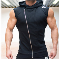 sleeveless hoodie - Mens Sleeveless Sweatshirt Hoodies Top Clothing T Shirt Hooded Vests Sporting Hooded for Men Cotton Solid T Shirts Hooded