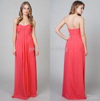Wholesale New arrival simple style a line sweetheart pleats chiffon coral bridesmaid dress brides maid dress cheap BD067