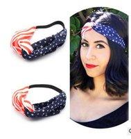 Wholesale Newest American Flag Headband Stripe Bowknot Headwrap Fashion Elastic Hair Bands Turban Hair Accessories