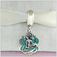 ariel charms - New Sterling Silver Ariel and Sea Shell Dangle Charm Bead with Enamel Fits European Pandora Style Jewelry Bracelets Necklace Pendants