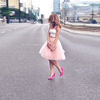 adult tutu hot pink skirt - HOT SALE PINK SHOT KNEE LENGTH ADULT TULLE TUTU SKIRT A LINE MIDI SKIRTS FOR WOMEN PARTY