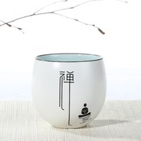 Wholesale Dingyao Matte White Glaze Mantra Hand Painted Porcelain Teacup Teasets Ding Ware Zen Silence Cup