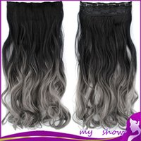 Wholesale 22 quot Long Wavy Clips Heat Resistant Fiber Synthetic Clip in Hair Extensions Black To Gray Gradient Color Hairpiece Accessories