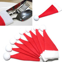 Wholesale Christmas mini bottle hat with Christmas Hat Silverware Holder Mini Red Santa Claus Cutlery Party Decor