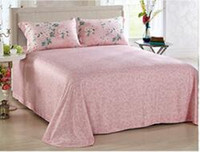 best hotel bedding - 100 pure silk pink flower Spring summer best home textile wedding hotel princess girl nursing bedclothes bedding set