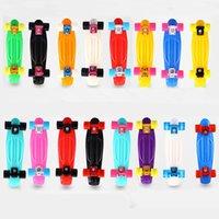 Wholesale Children s Scooter Cruiser Style Skateboard Complete Deck Plastic Mini Shape Skate longboard skateboarding board