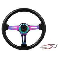 Wholesale universal mm inch black blue red classic ABS car sport steering wheel with neo chrome silver gold spokes