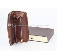 Wholesale Classic Hot Selling Women Genuine Leather Zippy Wallet N60015 N60017 N60019 Brown Mono Brown Checker V Plaid White Azur Canvas