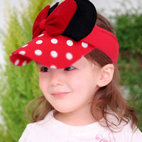 Wholesale special offer big ribbon round dot bowknot children baby caps summer hats
