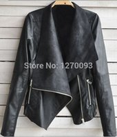 Wholesale 2016 Fashion PU Faux Leather Motorcycle Jacket Lapel Zipper Women Leather Jacket Slim Long Sleeve Leather Clothing jaqueta couro