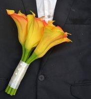 выполненный на заказ реальный сенсорный большой Калла Лили букет ----- свадьбы невеста невесты букеты ------ желтый, аквамарин, белый, розовый, оранжевый, зеленый, красный