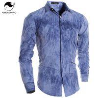 ac personalized - Mens Shirt Fashion Camisas Long Sleeve Personalized Color Camisetas New Brand Male Shirts Men Slim Masculina Shirt XXL AC