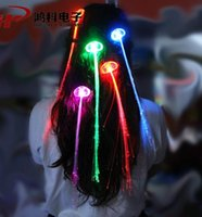 Wholesale Christmas Hair Decorations LED Hair Luminous Light Up Extension Flash Braid Party Girl Hair Glow Fiber Optic For Party Christmas Night Light