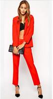 business suits - Custom Made Red Piece Set Women Elegant Pants Suits Ladies Business Pant Suits Formal Office Suits