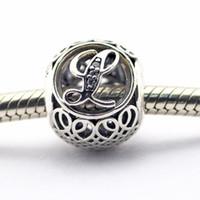 Wholesale Vintage L Clear CZ Sterling Silver Beads Fit Pandora Charms Bracelet Authentic DIY Fashion Jewelry