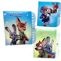Wholesale Prettybaby Zootopia Notebook Student Writting Diary Judy Nick cartoon Book Student secret Notepad with Password School Pt0412 mi