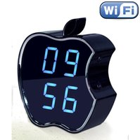 apple alarm clocks - Spy camera sales H HD IP wireless Camera apple modle LCD Alarm Clock Wifi Hidden Camera Clock listen device P2P night vision Clock DVR