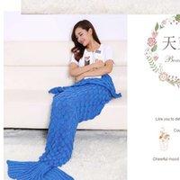 Wholesale Hot Wool Knitted Mermaid Tail Crochet Blanket Handmade Children Mermaid Blanket Adult Throw Bed Super Soft Swaddle Sleeping Bag