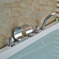 Wholesale Luxury Crystal Ball Handles C Curved Waterfall Bathroom Tub Faucet Sink Mixer Tap