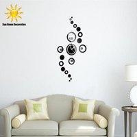Wholesale Hot Sale circles wall clock modern design luxury mirror DIY wall clock d crystal mirror wall watches wall clocks