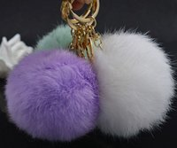 Wholesale Fashion hottest multicolor cm Soft Rabbit Fur Ball Gold plating Key rings Keychain For Car Bag Key Chains charm Accessories