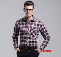 Wholesale Hot Stitched Men Spring cotton linen easy care casual big size long sleeve flannel plaid formal suit dress wedding shirts M XXL