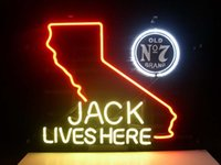 beer california - JACK DANIELS LIVES HERE CALIFORNIA OLD Real Glass Neon Light Sign Home Beer Bar Pub Recreation Room Game Room Windows Garage Wall Sign