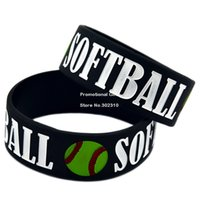 adult softball - Shipping Softball Wide Band Ink filled Colour Silicone Wristband Bracelet for Sport Adult Size