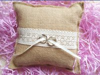 Wholesale rustic country hessian Burlap wedding ring bearer burlap ring pillow lace bow ring cushion