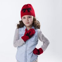 Wholesale Children Knitting Winter Hat Glove Two Set Beanie Girl Autumn Baby Lovely Keep Warm
