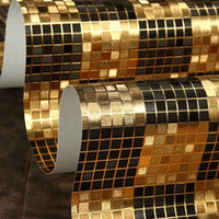Wholesale Moderno Black Gold Mosaic Metallic Vinyl Wallpaper Decor Background Wall m metallic wallpaper modern papel de parede florido