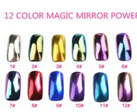 Wholesale 2g Colorful Nail Glitter Powder Shinning Mirror Effect Nail Makeup Powder Dust Nail Art DIY Chrome Pigment Glitters With Two Brushes