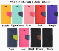 Cheap For Apple iPhone cell phone case Best TPU mix color Mercury Wallet Flip PU Leather Case