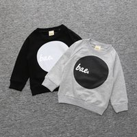Wholesale Baby Boy T shirt Autumn Unisex Kids Letter Tops Children Long Sleeve Black Gray Cotton Tops Soprts Sweatshirts New
