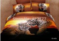 bargain comforter sets - Excellent Bargain d oil painting manly tiger cotton duvet cover flat sheet pc comforter bedding sets for queen size bed