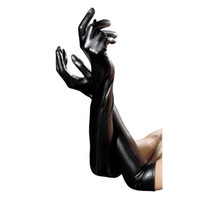 Hand wash only fashion gloves leather - Sexy Women s Long Gloves Five Fingers Faux Leather Latex Gothic Gloves Black Wet Look Elbow Length PVC Gloves
