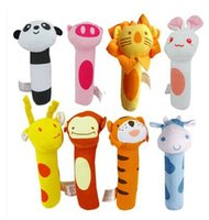 Wholesale Baby Animal Shaped Catoon Hand Bell Ring Rattles Kid Plush Soft Toy