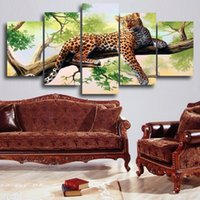 Wholesale 5 Panels HD Dark Red Leopard On The Tree Canvas Print Kinfe Painting Artwork Wall Art Picture for Home Modern Decoration UnFramed